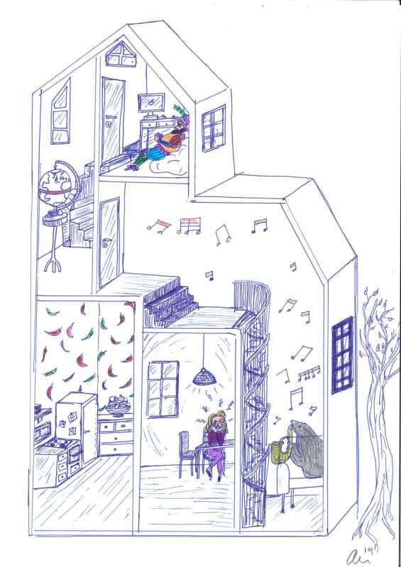 Ailin Moser, daughter of Nobel Laureates May-Britt and Edvard Moser, drew this picture of a house to illustrate how the method of loci work. Image: Ailin Moser