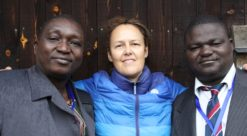 Samuel Batty (left) with  fellow STP student Muhamed Kamara (right) and  STP trainer Maria Milland at the Gotland Course in Sweden, August 2014. Photo: Capacare.org