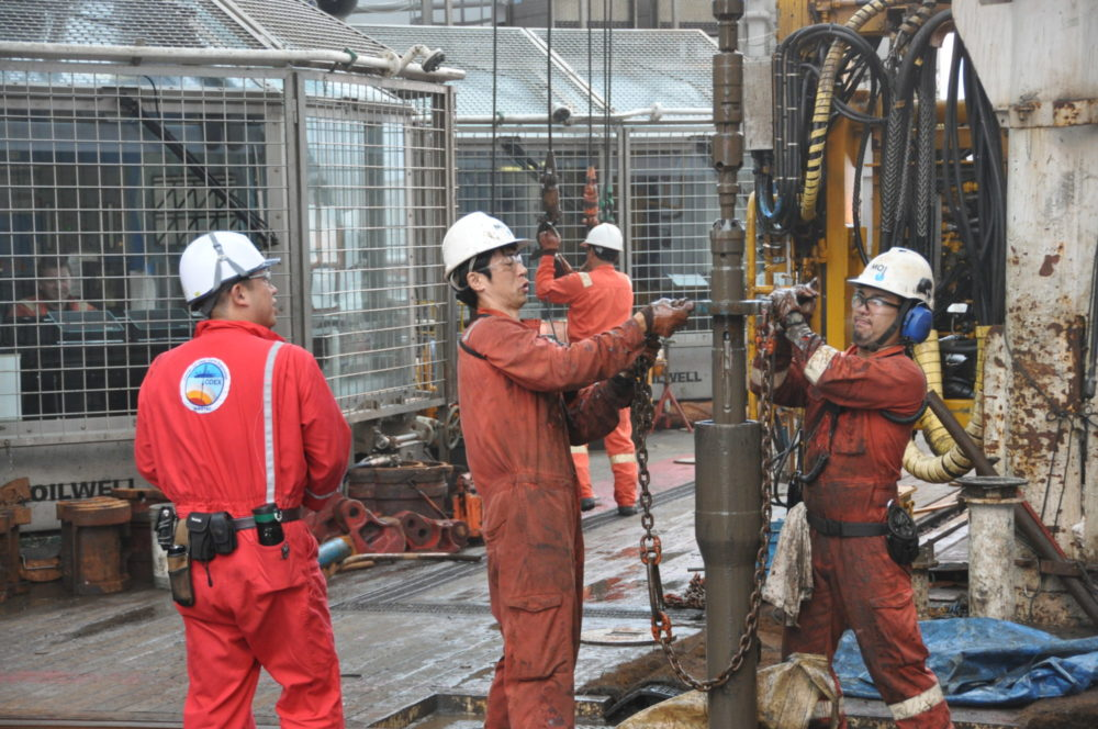 Drilling for ancient microbes on Day 40 of the 2012 Chikyu expedition. Photo: JAMSTEC