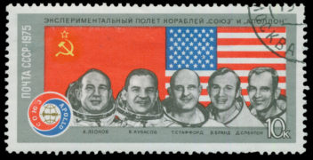 A Soviet commemorative stamp from 1975 shows Russian and US astronauts from the Apollo-Soyuz test project. Alexei Leonov is at far left. Photo: Thinkstock