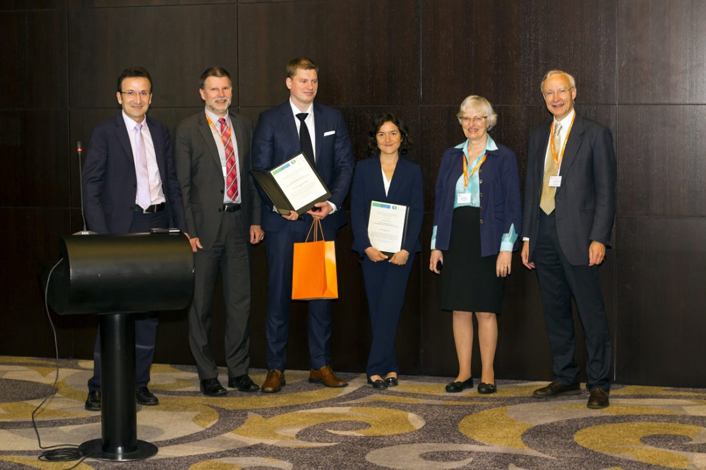 From left, Jean-Noël Jaubert, Ralf Dohrn, Øivind Wilhelmsen,Silvia Lasala, Signe Kjelstrup and Jean-Charles de Hemptinne at the European Federation of Chemical Engineering awards.