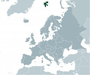 Map showing Svalbard in relation to Norway and Europe.