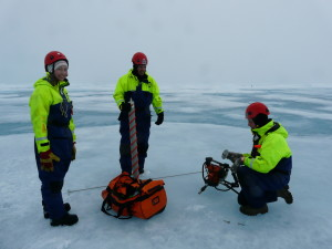 PhD candidates out on the sea ice during the 2013 Oden Arctic Technology Research Cruise. Their brightly coloured suits are also flexible enough so they can work and stay warm at the same time. Photo: SAMCoT/NTNU