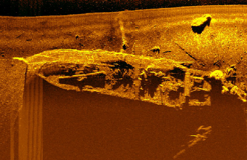 A sonar image of Figaro, a wreck at the bottom of Trygghamna in about 30 metres of water. Photo: Øyvind Ødegård, NTNU