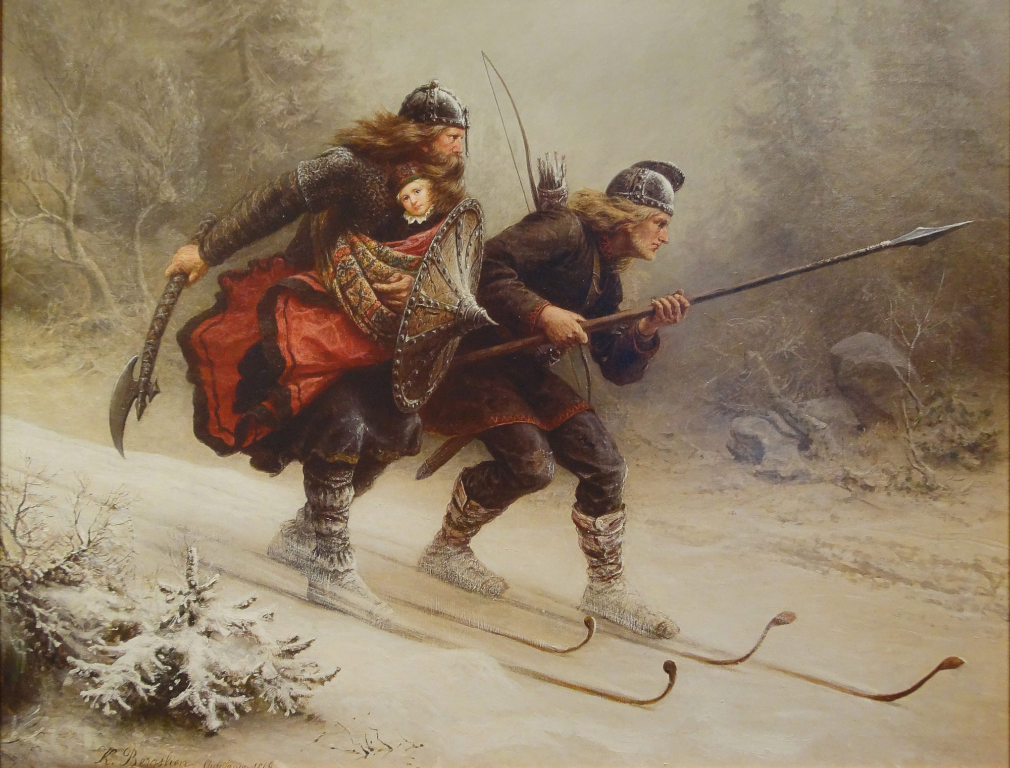 The Norwegian artist Knud Larsen Bergslien painted this picture of a dramatic event in Norwegian history from 1206, when skiers escaped from Lillehammer with two-year-old Håkon Håkonsson, whose life was threatened by a civil war. Håkonsson survived the 100-km trip across the mountains in the depths of winter and became king in 1217. The painting underscores the deep cultural roots that skiing has in Norway.