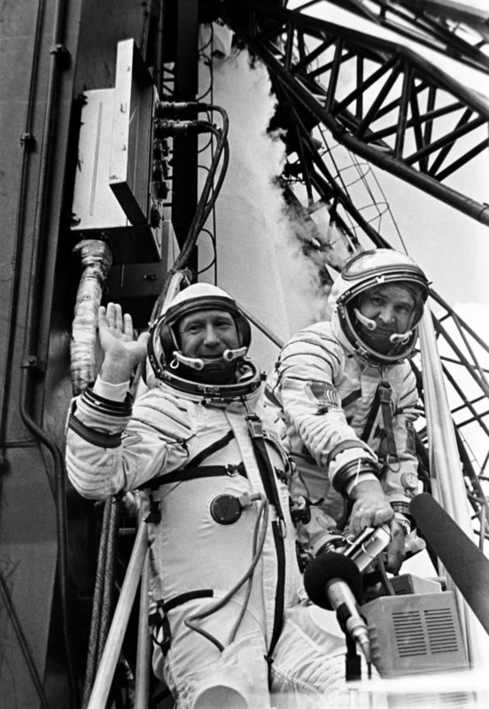 Ten years after his historic first spacewalk, Alexei Leonov participated in the Apollo-Soyuz programme, which entailed the docking of an American Apollo Command/Service Module (CSM) with a Soviet Soyuz 7K-TM spacecraft. Leonov, left, is shown here with his flight engineer for the mission, Valeri Kubasov. Photo: NASA archives.