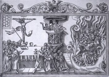 With the arrival of Martin Luther, the church congregation became important participants in the liturgy, resulting in more exciting Masses for many. Right side of illustration shows the Pope's Descent to Hell. Illustration by Lucas Cranach the Younger