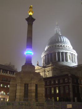 Michael Pinsky art: here he visualizes how high the sea will rise in London in a thousand years with luminous blue rings mounted on three famous London monuments. Photo: Courtesy of Michael Pinsky