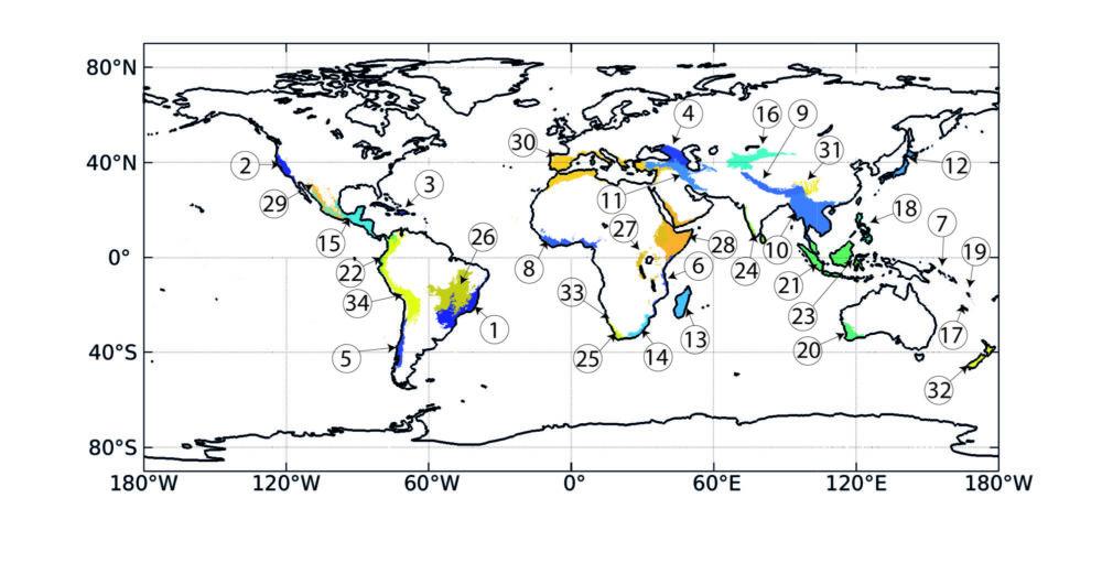 Map showing biodiversity hotspots
