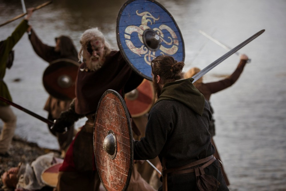 Viking warriors engaged in battle