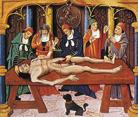 Artwork of Anatomical dissection from 1485